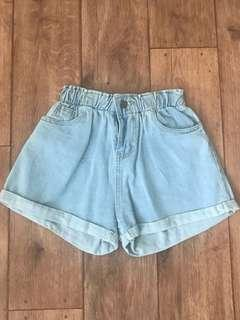 Ladies Paper Bag High Waisted Denim Shorts Size 8