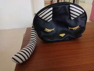 熱銷~全新的~Net超可愛經典貓咪~黑色化粧包(僅此一個)要買要快
