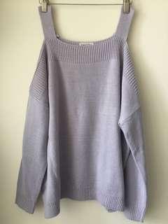 粉紫色 露肩 毛衣