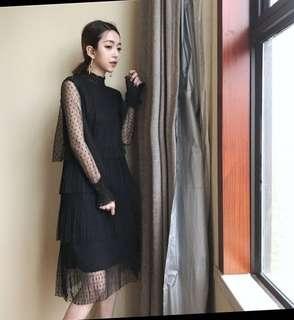 🚚 Lace Layered Chiffon Dress
