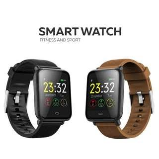 智能手錶 - 兩條錶帶(黑+啡)-來電 Whatsapp Wechat FB IG 訊息提醒 血壓心跳監察 遙控拍照 Bluetooth Smart Watch IP67