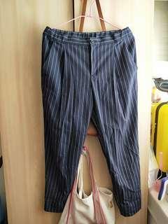 🚚 Uniqulo 深藍寬褲 西裝褲