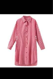 🚚 Checked Shirt Dress w Pockets (Black or Red available)