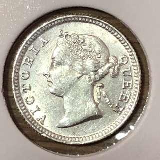 1898 Straits Settlements 5 Cents Silver
