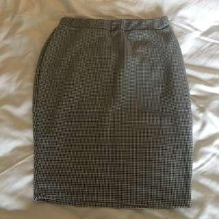 Houndstooth Print Pencil Office Skirt
