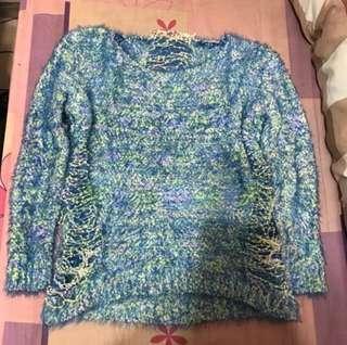 🚚 韓組藍色破洞造型毛毛上衣