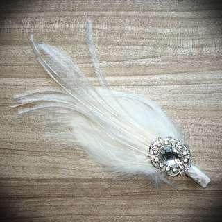 Feather and crystal hairclip
