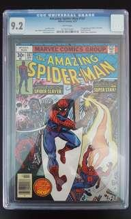 Amazing Spider-man #167 CGC 9.2 (1977 1st Series) 1ST Appearance Of Will-O-The Wasp! Vs The Spider Slayer! Bronze-Age Collectible!