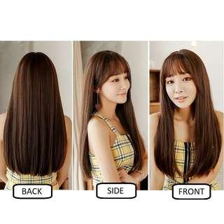 Korean Air Fringe Long Straight Full Wig for Daily Use (Natural Black/Chocolate Brown/Ombre Brown/Grey/Ombre Red/Ombre Tea/Ombre Purple)