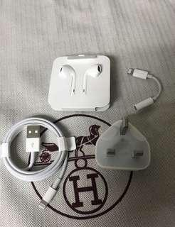 100% Apple Orignial iPhone Accessories - Lightning Cable + Lightning EarPods + 5w Charger + 3.5mm adapter
