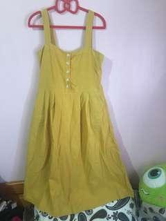 🚚 正韓棉麻芥末黃長洋裝