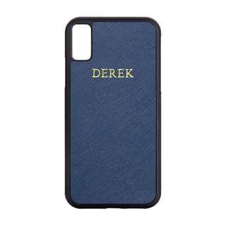 🚚 Personalised Saffiano Leather iPhone X Case - Navy