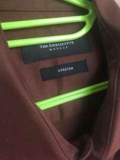NEW! Executive Shirt Brown 16.5 kemeja coklat