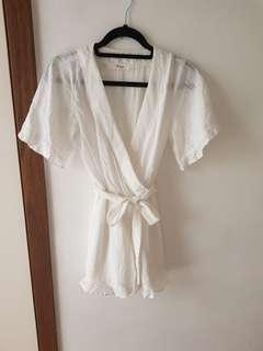 DAZIE White V-neck Playsuit