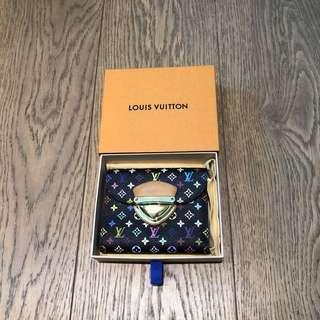 LV Louis Vuitton multicolor logo black leather wallet