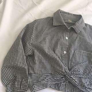 格子短版長袖襯衫