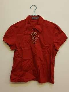Red Polo with Brown String