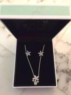 Brand new diamond simulated necklace and earrings