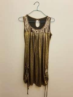 Retro / Vintage Gold Dress