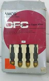 音響線 1米長 Oxygen free copper wires,OFC