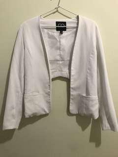 White blazer with back cutout