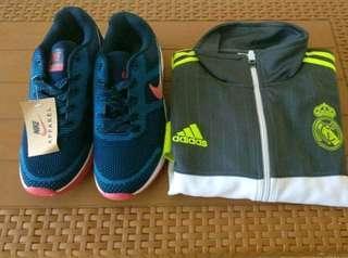 Sepatu Nike dan jaket Adidas Teal Madrid