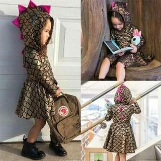 New Style Fish Scale Pattern Hooded Winter Spring Long Sleeve Vintage Dress Baby Home Wear Clothing Kid Birthday Dress
