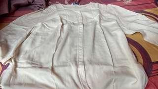 M&s ivory cotton 7/8 blouse