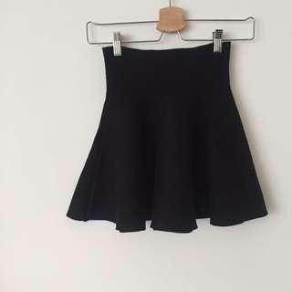 厚針織波浪高腰裙