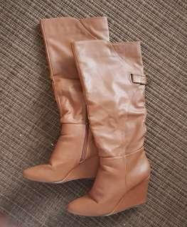 Tan Brown Leather Knee High Wedge Boots Sz 38