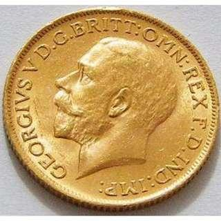 1912 Great Britain George V - Gold Sovereign BU condition