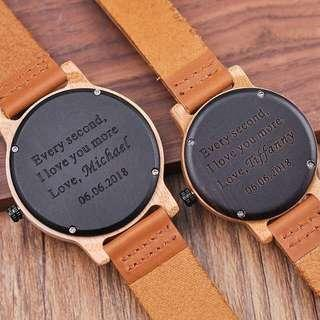 🚚 Customised Engraved Couple Wood Watch