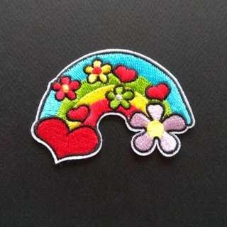Hippie Love Flower Rainbow Hipster Craft Iron On Patch