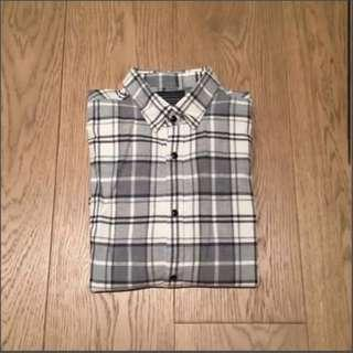 Zara navy grey cream check shirt