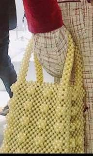Shrimps style yellow pearl hand bag