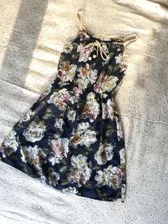 Dark Blue Floral Summer Dress