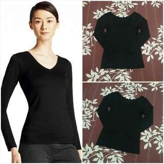 UNIQLO Heattech V-neck Long Sleeve (Black S)