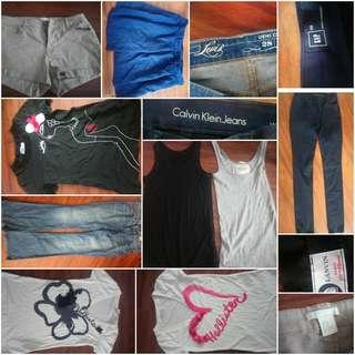Ladies clothes(tops,  shorts and jeans) x 9 pcs