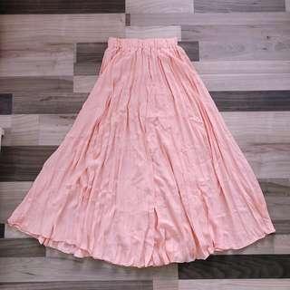 Peach Maxi pleated Skirt
