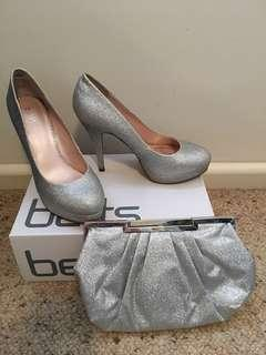 Betts silver heels and matching clutch