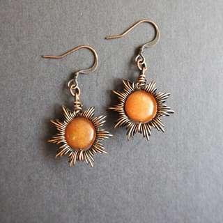 Orange Aventurine copper wire earrings in sunray style