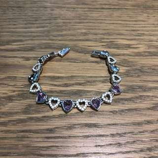 Swarovski crystal Purple Heart bracelet