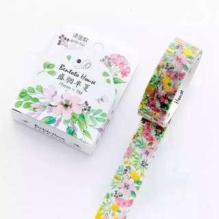 [PO] blooming flower floral gold foil washi tape