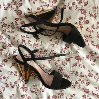 charles & keith gold black gold reflective heels