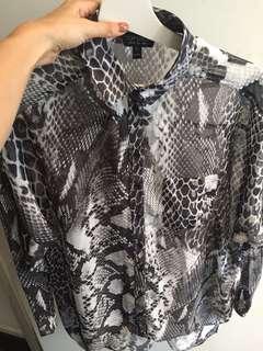Topshop snakeskin shirt size 8