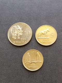 非洲贊比亞1992年一套硬幣三枚