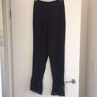 Missguided black lace bottom trousers size 8 - never worn