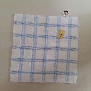 全新 櫻桃小丸子 毛巾 藍色格仔
