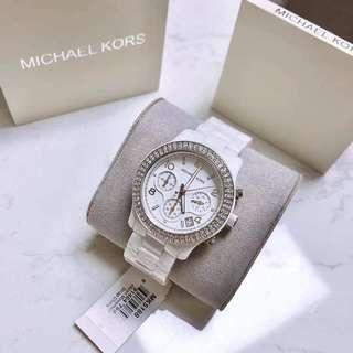 Michael Kors MK5188 Runway Glitz White Dial White Ceramic Bracelet Watch