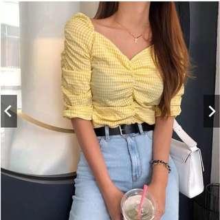 小黃格抓皺襯衫 短版襯衫